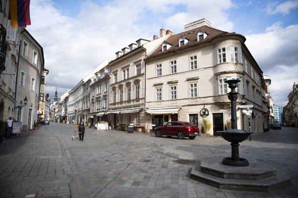 The emptied streets of Bratislava.