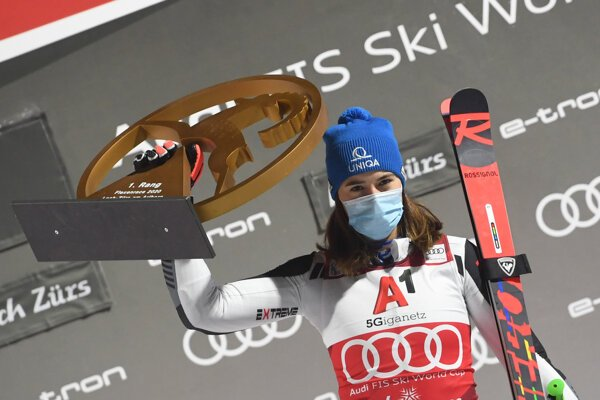 Slovakia's Petra Vlhová won the women's World Cup parallel giant slalom in Lech/Zuers, Austria.