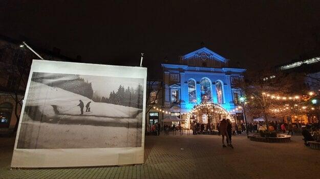The Festival of Snow by Miloš Urbásek, Alex Mlynárčik and Milan Adamčiak in front of Stará Tržnica.