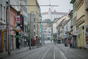 The empty streets of Bratislava during a partial lockdown.