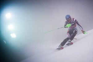 Slovakia's Petra Vlhová on the track during the women's World Cup Slalom in Zagreb, Croatia, on January 3, 2021.