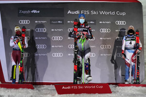 From left, second placed Austria's Katharina Liensberger, first placed Slovakia's Petra Vlhová and third placed Switzerland's Michelle Gisin stand on the podium of an alpine ski, women's World Cup Slalom, in Zagreb, Croatia.