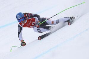 Slovakia's Petra Vlhová speeds down the course of an alpine ski, women's World Cup super-G race in Garmisch-Partenkirchen, Germany.