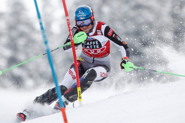 Petra Vlhova during the final slalom race in Lanzerheide, Switzerland.