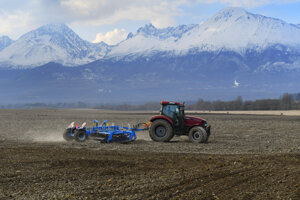 Tractor out on the field in the Tatra region on April 22, 2021.