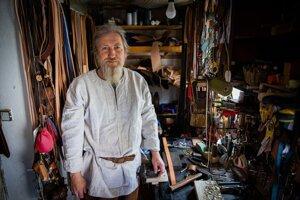 Leatherworker Ondrej Sabela in his workshop.