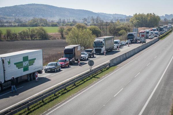 A traffic jam on the D2 highway outside Bratislava.