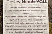 Anti-Slovak posters first appeared in Tinsley and different parts of Sheffield towards the end of 2020.