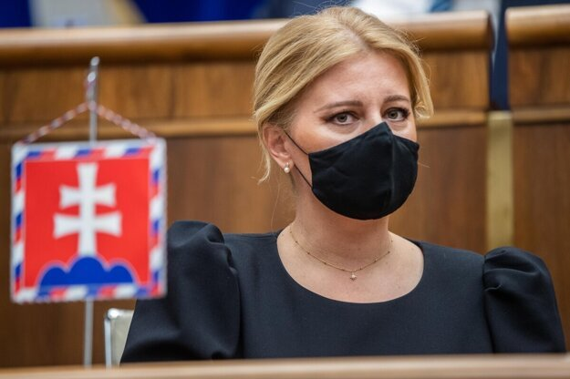 President Zuzana Caputova delivers her state of the republic address in parliament on September 28, 2021.