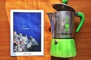 Postcard and a moka pot