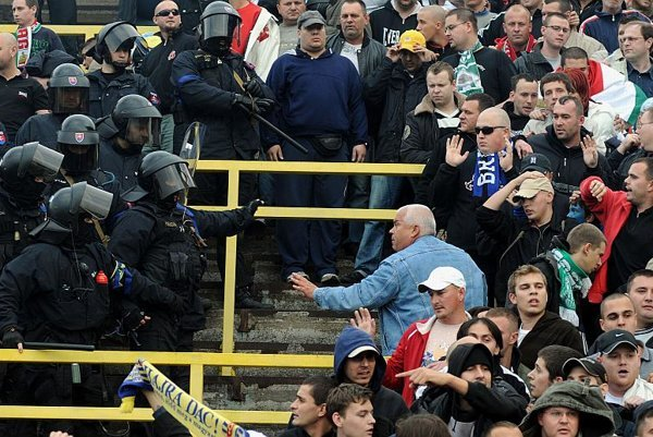 Police and fans confront each other in Dunajská Streda.
