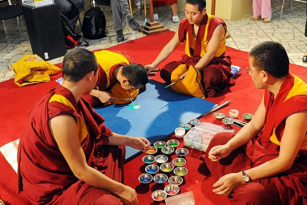 Tibetan monks performing rituals in the National Museum in Bratislava