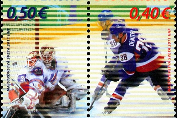 Slovak Post's new hockey-themed stamps.