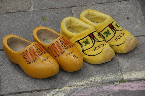 Traditional Dutch wooden shoes - clogs.