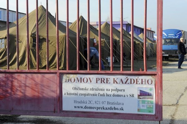 Tents were erected for homeless people in February.