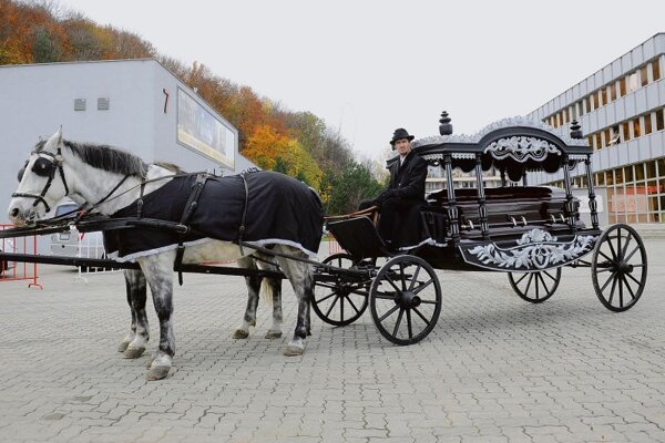 A classic hearse at the Slovak Funeral 2012 expo.