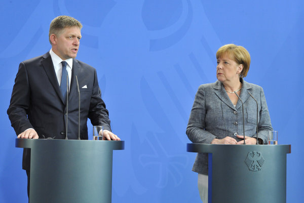 Angela Merkel and Robert Fico.