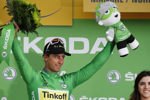 Winner Sagan in green jersey