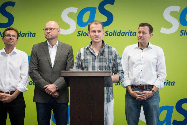 l-r: Ľubomír Galko, Richard Sulík (both SaS), Igor Matovič, Daniel Lipšic (both OĽaNO-NOVA)