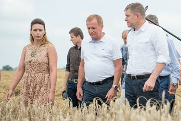 Left front:PM Robert Fico, SPPK chair Milan Semančík and chair of Devín Cooperative of Shareholders Zuzana Pagáčová at a harvest excursion in Záhorská Bystrica.