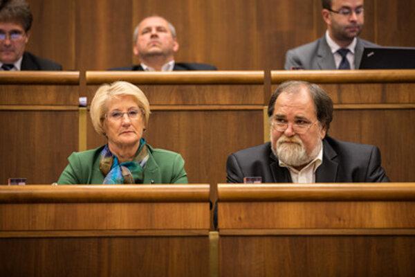 Smer MPs Jana Laššáková (L) and Miroslav Číž.