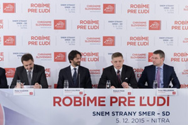 Smer congress 2015: L-R vice-chairs Dušan Čaplovič, Peter Pellegrini, Robert Kaliňák, chairman Robert Fico, vice-chairs Peter Pellegrini and Marek Maďarič.