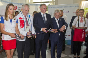 L-R White-water slalomer Jana Dukátová, Czech President Miloš Zeman, Slovak President Andrej Kiska and President of the Slovak Olympic Committee (SOV) František Chmelár open the Slovak House at Rio Olympics.