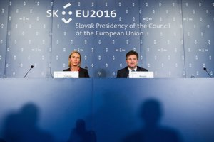 Federica Mogherini and Miroslav Lajčák at their joint press conference in Bratislava, during Slovak presidency of EU Council.