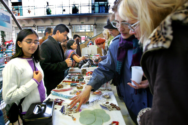 Charity bazaar, illustrative stock photo.