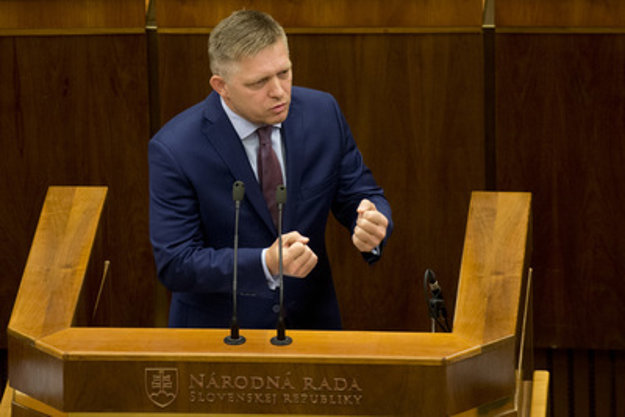 PM Fico during the no-confidence parliamentary session.