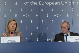 High Representative of the Union for Foreign Affairs and Security Policy Federica Mogherini and Slovak Defence Minister Peter Gajdoš