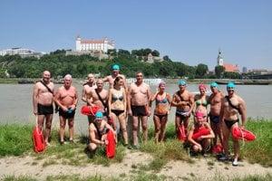Swimming across the Danube River.