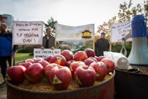 Vrakuňa's citizens presented apples washed in water with leaked toxins at the protest.