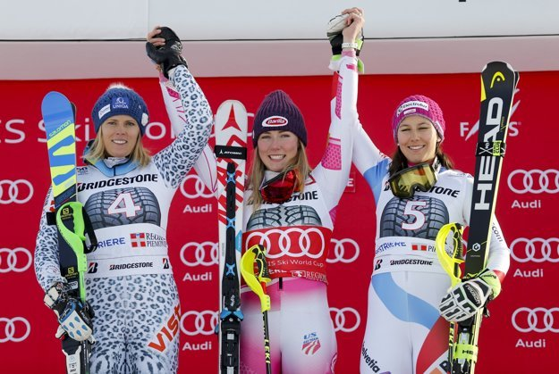 Winner, US Mikaela Shiffrin (C), second, Slovak Veronika Velez Zuzulová (L) and third, Swiss Wendy Holdener, celebrate after World Cup slalom in Sistriere.