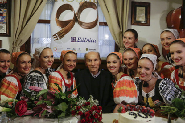 Štefán nosáľ, co-founder and long-time art director of the Lúčnica folklore troupe celebrated 90th birthday.