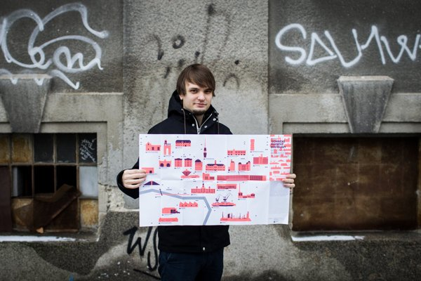 Martin Lipták with the map of industrial monuments in Bratislava.