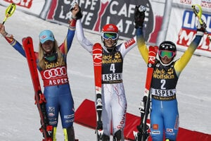 Winners of the March 18, 2017 slalom of World Cup in Aspen: L-R: US Mikaela Shiffrin (second), Petra Vlhová (first) and Swedih Frida Hansdotter.