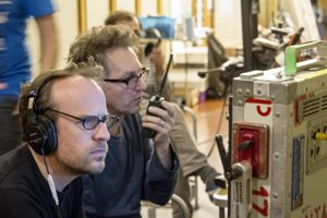 L-R: Julius Ševčík (director), and Martin Štrba (camera) in the film-making process of Masaryk