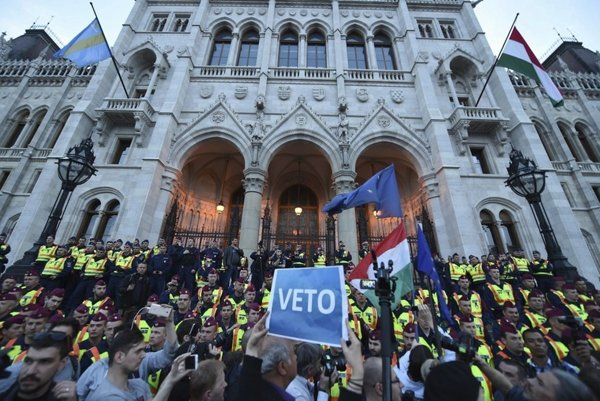 Protest in support of the CEU in Budapest.