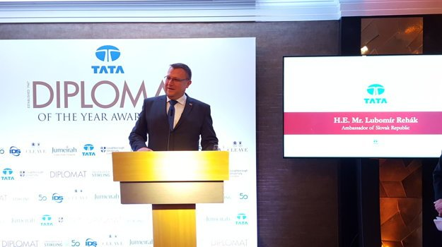 Slovak ambassador awarded by the Tata Diplomat magazine, in London.