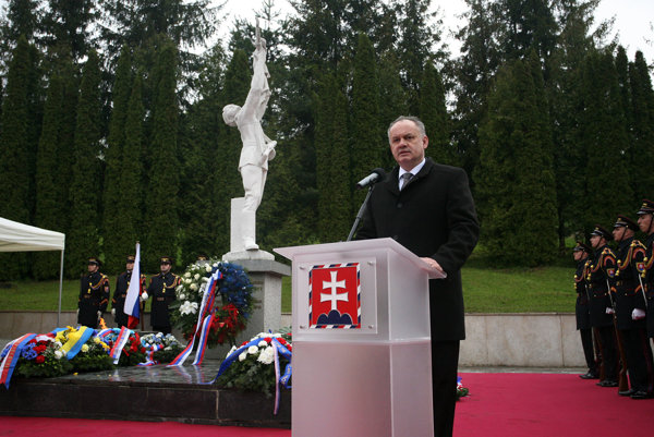 President Kiska attending a WWII commemorative event in Kalinov
