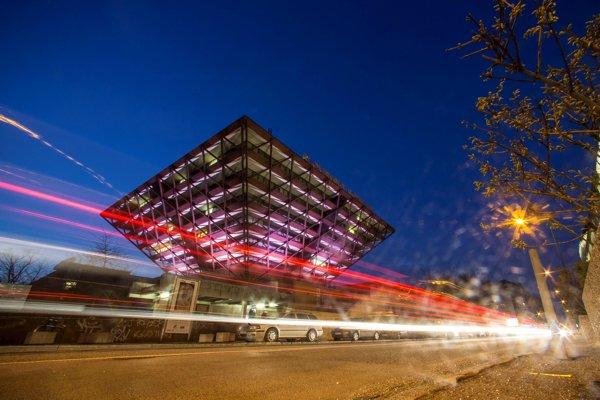 The illuminated iconic building of Slovak radio.