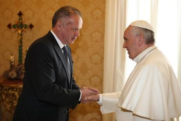 Slovak President Andrej Kiska with Pope Francis.