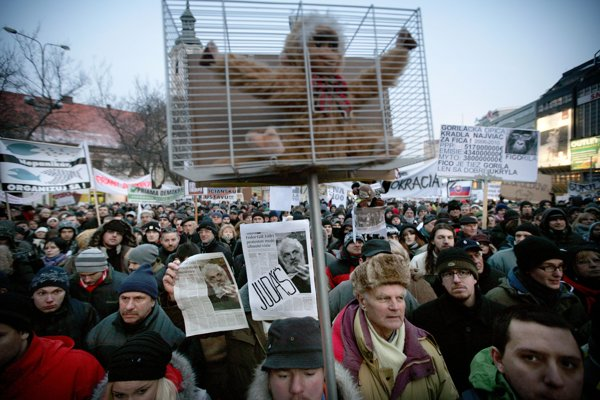 Protests over the Gorilla scandal drew thousands into Slovakia's squares in 2011.