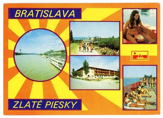 A historical postcard from Zlaté Piesky