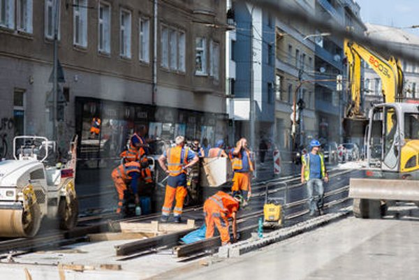 Reconstruction works in the Špitálska Street in Bratislava.