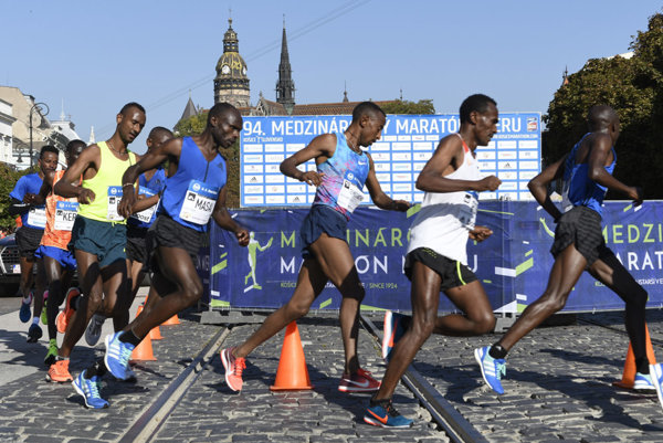 The leading runners of the International Peace Marathon in Košice