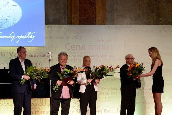 Laureates, L-R: Ľubomír Feldek, Viliam Gruska, wife of Alex Mlynárčik and Stanislav Szomolányi