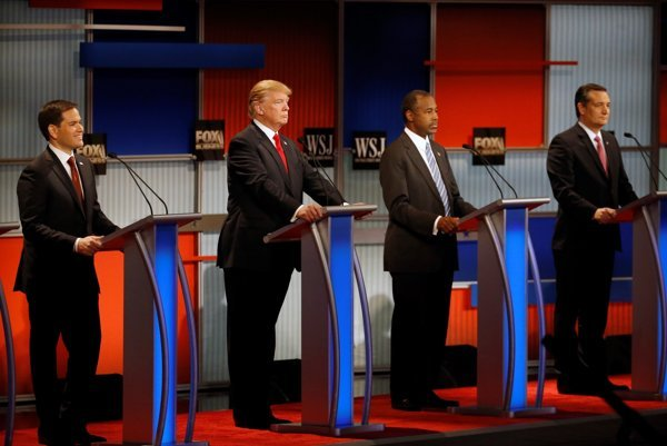 Republican presidential candidates Marco Rubio, Donald Trump, Ben Carson and Ted Cruz, from left.