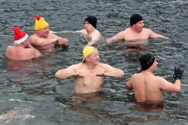 Swimming in cold water is popular in Slovakia.